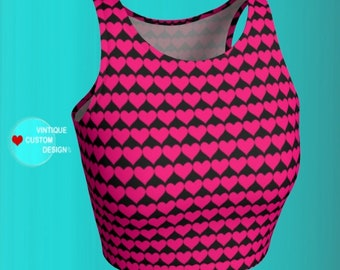 Heart Print Valentines Day CROP TOP Womens ATHLETIC Crop Top Work out Clothing Workout Top Yoga Top Designer Fashion Sexy Yoga Crop Top