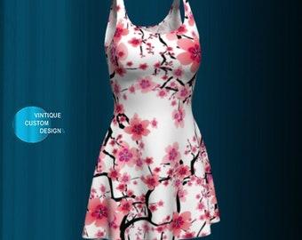 FLORAL PRINT DRESS Spring Dresses for Women Cherry Blossom Flower Printed Dress Flare Dress Womens Easter Clothing Gift for Wife Dresses