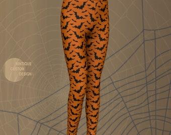 Orange and Black HALLOWEEN Leggings for Kids Fall Leggings Mommy and Me Bat Leggings Halloween Costumes Baby Leggings Toddler Leggings