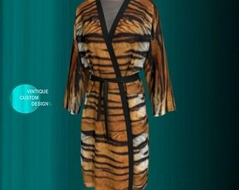 KIMONO ROBE WOMENS Animal Print Kimono Robe Tiger Print Kimono Long Peignoir Kimono Robe for Women Christmas Robe for Women Gift for Wife