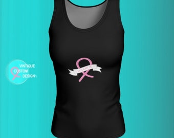 Pink Ribbon Breast Cancer Awareness BCAM TANK TOP Womens Top Sleeveless Tank Top for Women Pink and Black Survivor Ribbon Work Out Top