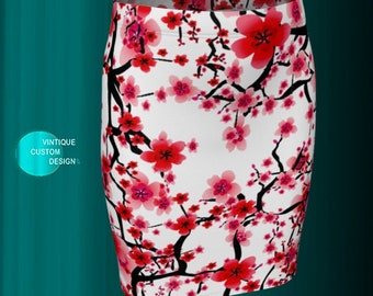 Floral CHERRY BLOSSOM SKIRT Womens Designer Skirt in Fitted and Flare Styles Red and White Floral Printed Skirt Womens Clothing Skirts