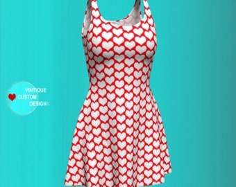 HEART DRESS Womens VALENTINES Day Party Dress Fit & Flare or Body Con Styles Red and White Heart Print Dress Designer Fashion Print Dress