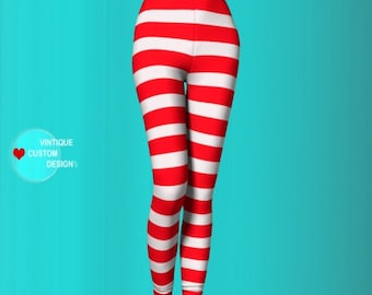 Valentines Day LEGGINGS Red and White Striped Womens Yoga Leggings Red and White Candy Cane Striped Yoga Pants Valentines Gift for Wife