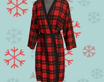 Red Tartan PLAID KIMONO Robe Red Plaid Kimono Robe Plaid Kimono Robe Peignoir Long Robe Womens Robe Christmas Robe for Women Gift for Wife