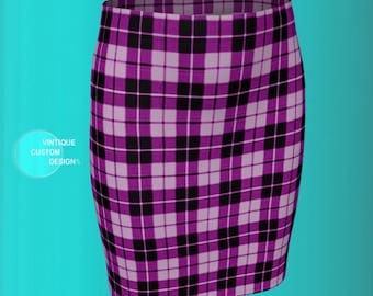 TARTAN PLAID SKIRT Womens Mini Skirt for Spring Sexy Mini Skirt Purple Plaid Skirt Spring Skirts Plaid Skirt for Women Slim Fitted Skirt