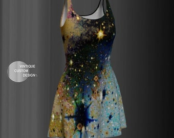 Womens FLARE DRESS Galaxy Print Flare Dress Skater Dress Fit and Flare Dress Art Print Dress Designer Fashion Dress for Women Party Dress