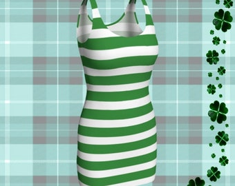 Green and White Striped DRESS Womens Elf Dress Bodycon Dress Holiday Dresses Party Dress Christmas Outfit Body Con Dresses Womens