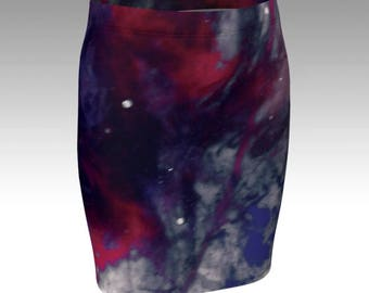 WOMENS GALAXY SKIRT Designer Fashion Skirt for Women High Waisted Skirt Fit or Flare Style Available Purple Galaxy Skirt Art Printed Skirt