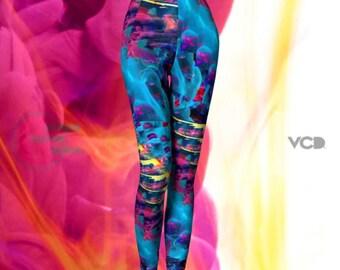 Rave Leggings Burning Man Clothing Festival Leggings Yoga Pants SEXY PRINT LEGGINGS Festival Fashion Colorful Art Leggings Sexy Yoga Pants