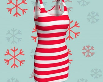 Red and White Candy Cane CHRISTMAS DRESS Womens Candy Stripe Bodycon Dress Holiday Dresses Party Dress Christmas Outfit Body Con Dresses