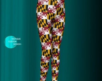 Kids MARYLAND FLAG LEGGINGS Children's Youth Leggings Boys and Girls Maryland Leggings Maryland Clothing Maryland State Flag Pants Go Terps