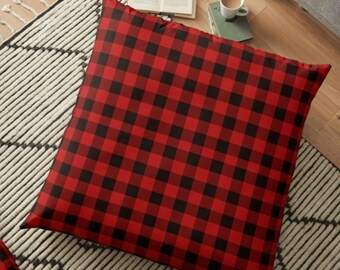 """RED BUFFALO PLAID Pillow Decorative Throw Pillow Couch Pillow Red and Black Buffalo Check Plaid Christmas Decor Home Square Pillow 18"""" x 18"""""""