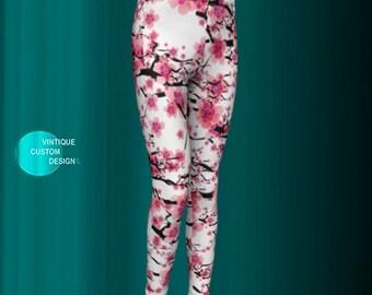 GIRLS Cherry Blossom FLORAL LEGGINGS for Girls Baby Leggings Toddler Leggings Girls Youth Leggings Floral Flower Leggings White and Pink