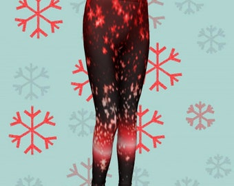 RED Sparkly CHRISTMAS LEGGINGS Girls Christmas Leggings Red and White Star Printed Leggings Baby Leggings Kids Leggings Toddler Leggings