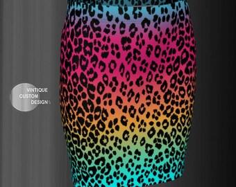 SKIRT Womens Leopard Rainbow Ombre Animal Print Skirt CHEETAH Skirt Festival Skirt Designer Fashion Skirt Colorful Skirt Sexy Mini Skirt