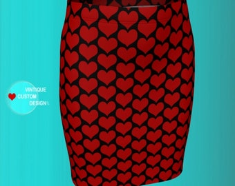 Valentines Day Skirt WOMENS Heart Skirt Designer Fashion Skirt for Women VALENTINES SKIRTS