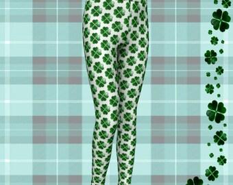 SHAMROCK LEGGINGS Clover Pants for St Pattys Day Youth Leggings for Kids Baby Leggings Toddler Pants Saint Patricks Day Green and White