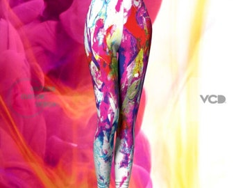 LEGGINGS Artsy Festival Leggings - Sexy Print Leggings - Womens Sexy Leggings - Paint Splatter Leggings - Funky Leggings - Rainbow Leggings