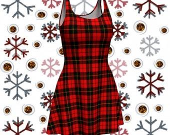 Red Tartan PLAID Bodycon DRESS or Flare Dress WOMENS Designer Dress Sexy Mini Dress Skater Dress Casual Dresses Sexy Plaid Dresses Red Plaid