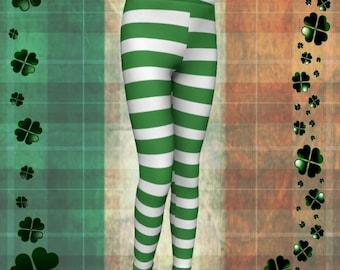 Green Striped Leprechaun Leggings Green and White St Pattys Day Leggings Kids Leggings Baby Leggings Saint Patricks Day Pants for Kids