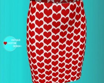 Red Heart SKIRT Valentines Day Skirt Womens Heart Skirt Designer Fashion Print Skirt Fitted and Flare Styles Red and White Heart Skirt