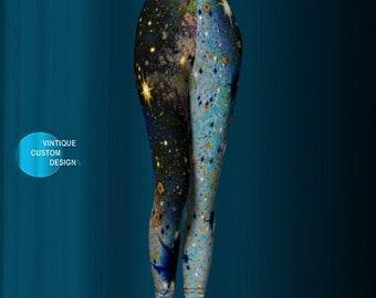 Galaxy LEGGINGS Yoga PANTS WOMENS Yoga Leggings Printed Leggings Painted Leggings Printed Leggings Burning Man Glitter Galaxy Pants Womens