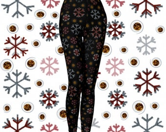 Christmas LEGGINGS WOMENS Yoga Pants Holiday Leggings Womens Christmas Yoga Leggings Black Gold Red SNOWFLAKE Printed Leggings Gift For Her