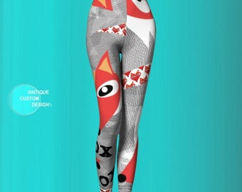 FOX LEGGINGS for Women - Womens Leggings - Sexy Yoga Pants - Fox Leggings - Hipster Yoga Pants - Sexy Print Leggings - Trendy Leggings - Fox