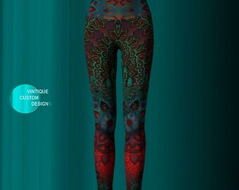 YOGA LEGGINGS Yoga Pants Printed Leggings Sexy Womens Leggings Festival Clothing Burning Man Leggings Lotus Flower Leggings Sacred Geometry