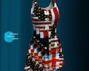 Patriotic AMERICAN Flag DRESS Memorial Day - Fourth of July American Flag Dress WOMENS Dress Flare Dress Red White and Blue Independence Day