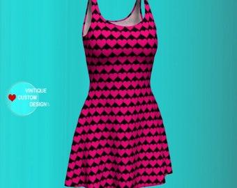 VALENTINES DAY DRESS Heart Print Dress Heart Dress Womens Pink and Black Heart Dress Bodycon Dress Fit and Flare Dress Slim Fit Mini Dress