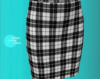 Black and White TARTAN PLAID SKIRT Womens Clothing Plaid Mini Skirt for Women Fitted Skirt or Flare Skirt Designer Skirt Sexy Mini Skirt