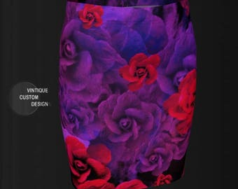 ROSE Print FLORAL SKIRT Purple and Red Roses Purple Flowers Womens Skirts Rose Skirt for Women Floral Skirt Red Rose Skirt Purple Rose Skirt