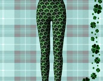 SHAMROCK Four Leaf CLOVER Leggings WOMENS Yoga Leggings Printed Leggings Green Clover Leggings St Patricks Day St Pattys Day Leggings Pants