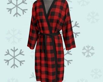BUFFALO PLAID KIMONO Robe Red Plaid Kimono Robe Red Buffalo Check Kimono Robe Peignoir Long Robe Womens Robe Christmas Robe for Women Gift