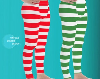 Mens Christmas LEGGINGS MENS Yoga Pants Christmas Yoga Leggings Mens Leggings Matching Leggings Green and Red Striped Candy Cane Leggings