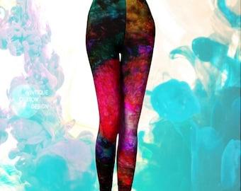 Rainbow FESTIVAL LEGGINGS yoga pants WOMENS Burning Man Clothing Rave Leggings Sexy Leggings Sexy Print Leggings Art Leggings Rave Clothing