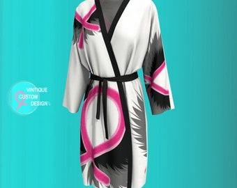 Womens Kimono Robe for Breast Cancer Awareness Pink Ribbon KIMONO PEIGNOIR ROBE Support Gift Survivor Pink and Black Love and Light Robe
