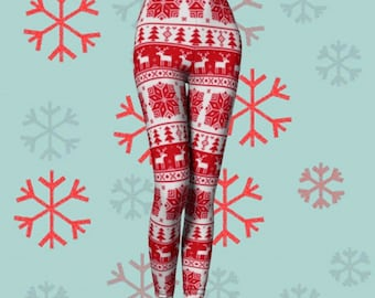 CHRISTMAS LEGGINGS WOMENS Leggings Red Crochet Pattern Leggings Yoga Pants Womens Leggings Holiday Clothing Reindeer Christmas Tree Pattern