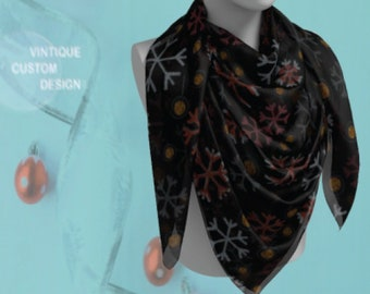 Christmas SCARVES Christmas Scarf SNOWFLAKE SCARF Womens Designer Scarf Womens Scarves Snowflake Print Womens Scarves Square and Long Scarf