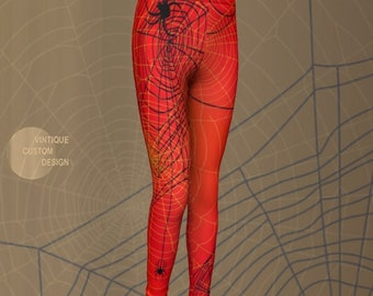 Spiderman SPIDERWEB LEGGINGS Red and Black HALLOWEEN Costume Leggings Kids Leggings Baby Leggings Toddler Leggings First Halloween Gift