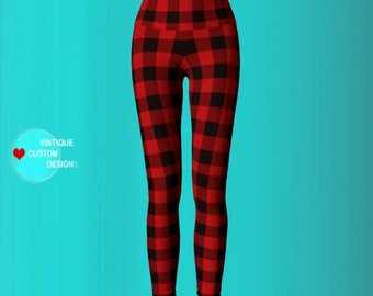 Red and Black BUFFALO Check PLAID LEGGINGS Yoga Leggings Buffalo Check Plaid Yoga Pants Womens Red Buffalo Plaid Leggings Printed Leggings