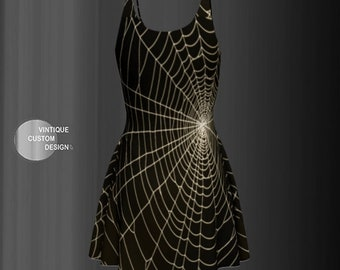 Gothic Halloween DRESSES Spider Web Print Fit and Flare or Bodycon Designer Dress Womens Dresses Trick or Treat Halloween Party Dress Womens