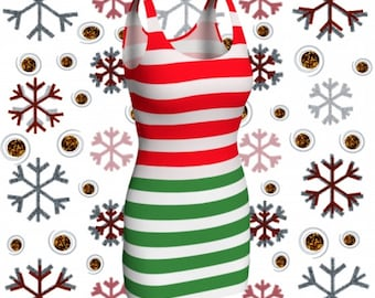 Red and Green CHRISTMAS DRESS Womens Candy Stripe Bodycon Dress Holiday Dresses Party Dress Christmas Dress Elf Outfit Body Con Dresses