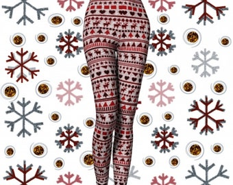 Womens CHRISTMAS LEGGINGS Yoga Pants for Women Christmas Yoga Leggings Red Reindeer Printed Leggings Pattern Leggings Holiday Leggings Gift