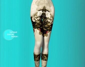 LEGGINGS YOGA PANTS Womens Sugar Skulls and Roses Art Leggings For Women Yoga Leggings Pastel Goth Fantasy Leggings Sexy Print Leggings