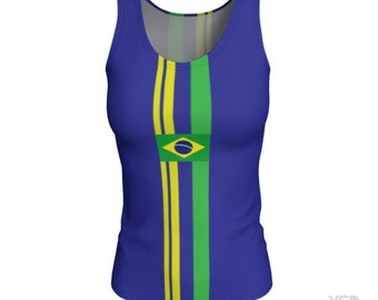Brazilian Tank Top Sleeveless Jersey Tank for WOMEN - Brazilian Flag - World Cup - World Cup Clothing for Women - Womens Running Tank Top