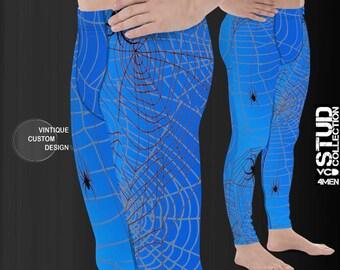 MEGGINGS Mens Leggings Blue Spiderweb Spider Web Printed Leggings Yoga PANTS for MEN Yoga Leggings Mens Blue and Black Spider Print Joggers
