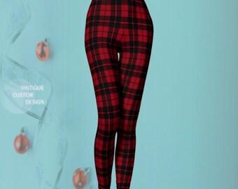 Christmas PLAID LEGGINGS Womens Leggings Plaid Yoga Pants Red Tartan Plaid Printed Leggings Christmas Leggings Red and Black Gift for Her